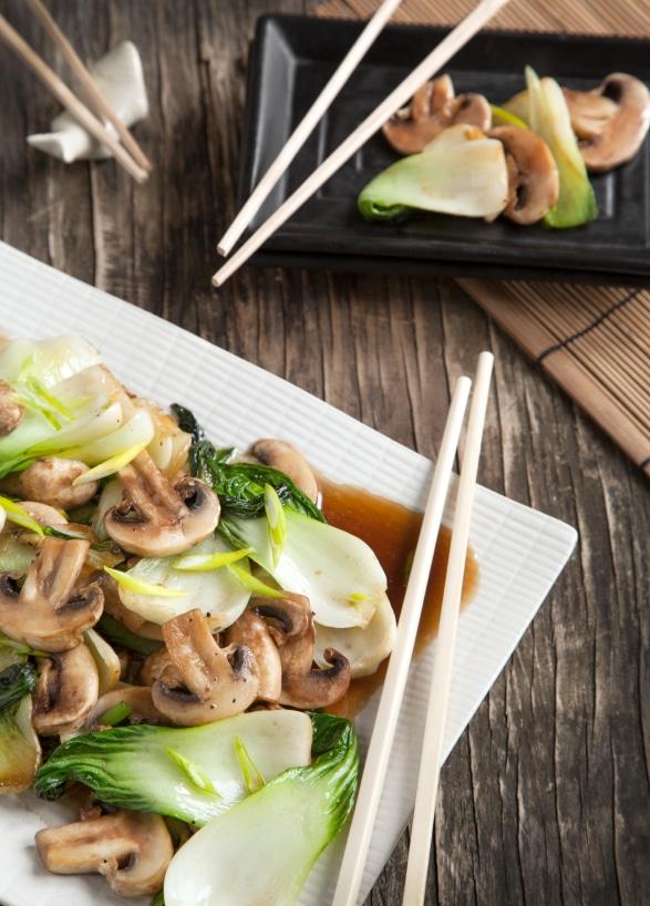 Stir fried bok choy with mushrooms