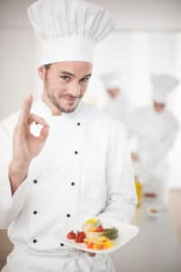 Portrait of a chef making a perfect sign