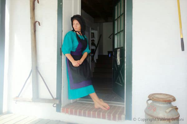 Valerie Orsoni in traditional Amish dress