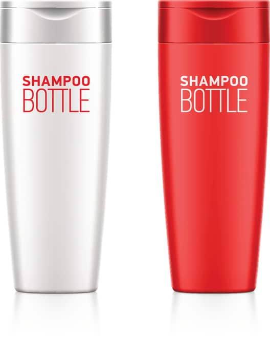 Shampoo bottle template for your design. Vector illustration with transparent effect. Eps10.