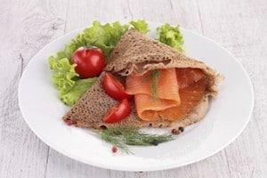 buckwheat crepe with smoked salmon