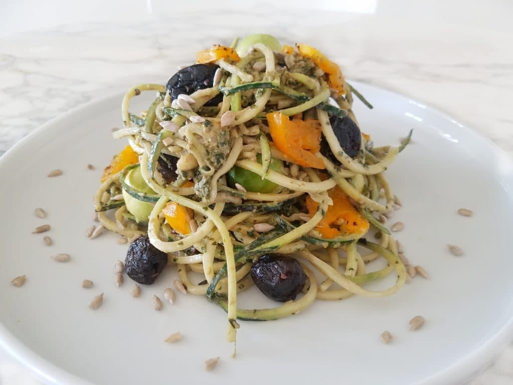 spaghettis de courgettes et pesto d'été - Valérie Orsoni - LeBootCamp