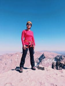 Valerie Orsoni at summit of Mount Whitney