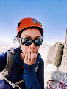 Valerie Orsoni climbing Mount Whitney