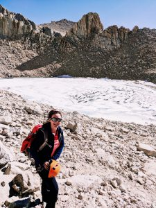 Valerie Orsoni at Iceberg Lake - mountain climbing