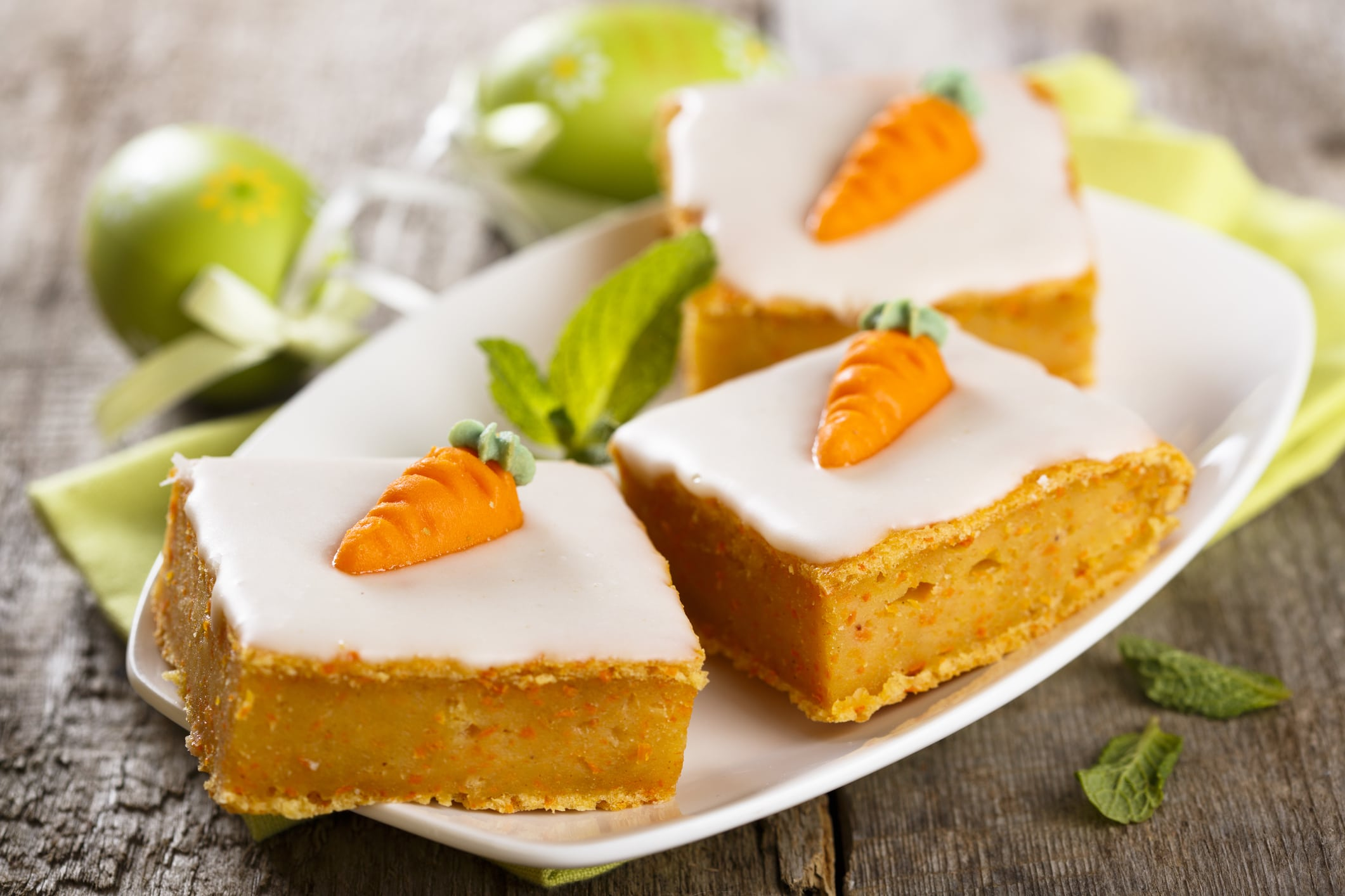 Carrot cake with marzipan carrot